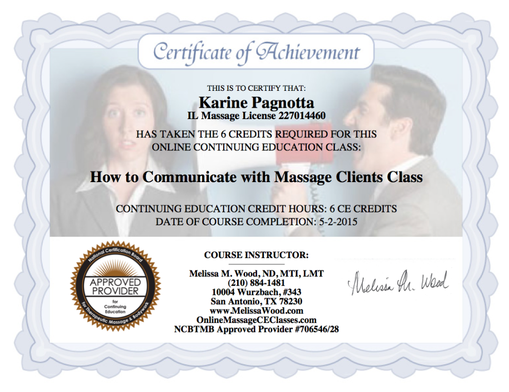 Certificate How to Communicate with Massage Patients