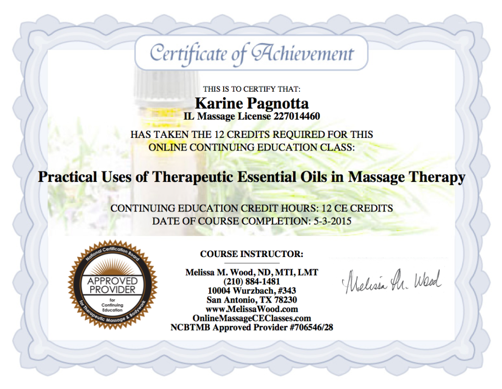Certificate Practical Use of Aromatherapy