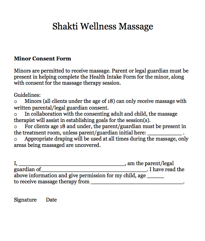 Intake Forms Shakti Wellness Massage – Massage Intake Form